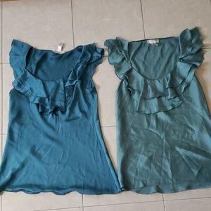 2 bundle Kenar silky like blue green ruffle tops